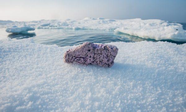 Au cours d'une expédition polaire dans l'Arctique, des scientifiques découvrent des blocs de plastique posés sur la glace