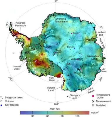 Pas de réchauffement climatique, voici la carte des «flux de chaleur géothermique» sous la glace de l'Antarctique