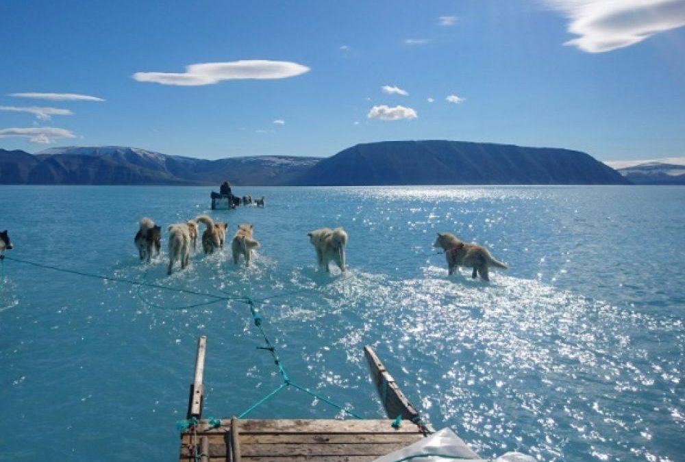 Cette photo impressionnante qui illustre la fonte des glaces précoce au Groenland